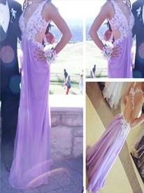 Lavender V Neck Lace Applique Open Back Full Length Evening Dress