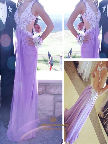 Lavender V Neck Lace Applique Open Back Full Length Evening Dress