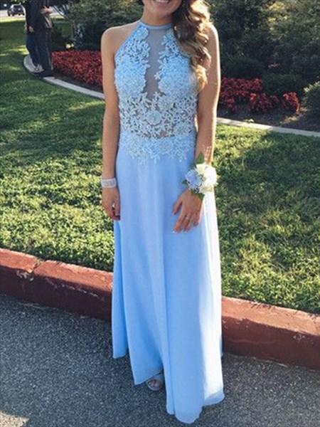 Light Blue Sheer Lace Applique Illusion Neckline A Line Prom Dress