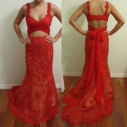 Red Two Piece Sheer Lace Applique Long Formal Dress With Train