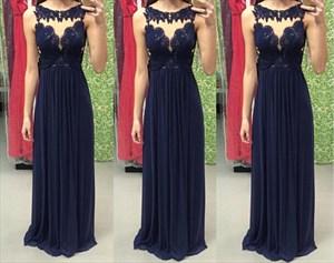 Black Sheer Neckline Sleeveless Lace Embellished Long Prom Dress