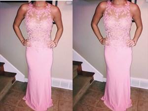 Pink Sheer Lace Applique Floor Length Sheath Formal Dress