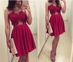Burgundy Sheer Lace Embellished Top Short Sleeveless Party Dress