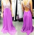 Lavender V Neck Lace Embellished Chiffon Backless Prom Dress