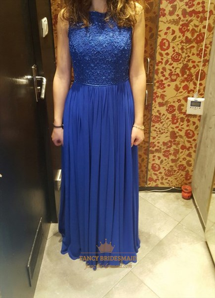 Royal Blue Lace Bodice Chiffon A Line Full Length Bridesmaid Dress