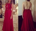 Red Open Back A Line Sleeveless Chiffon Prom Dress With Keyhole Front