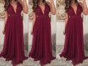 Burgundy Deep V-Neck A Line Floor Length Sleeveless Chiffon Prom Dress