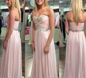 Pink Strapless Criss-Cross Beaded Ruched Bodice Long Prom Dress