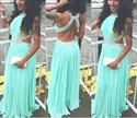 Turquoise Beaded Open Back Long Chiffon Prom Dress With Side Cutouts