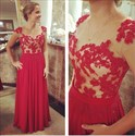 Red Cap Sleeve Sheer Lace Applique Bodice Full Length Prom Dress
