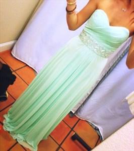 Mint Green Strapless Ruched Top Beaded Waist Long Bridesmaid Dress