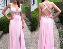 Pink Halter Beaded Bodice Open Back Full Length Chiffon Prom Dress