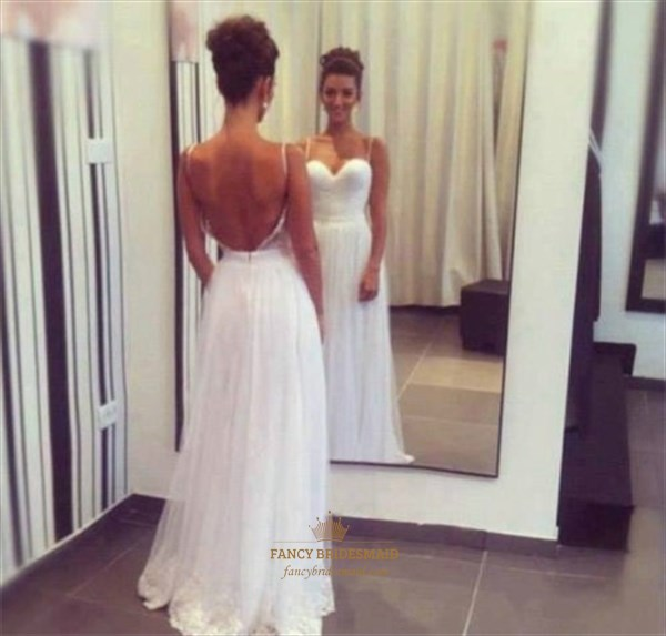 White Spaghetti Strap Sweetheart Open Back A Line Long Prom Gown
