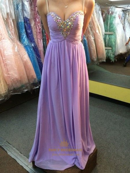 Lilac Strapless Sweetheart Beaded Ruched Long Chiffon Prom Dress