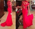 Red Sheer Lace Applique High Neck Long Sleeve Mermaid Long Prom Dress