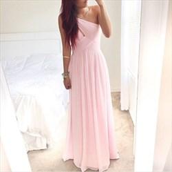 Pink One Shoulder Ruched Top Sleeveless Chiffon Long Bridesmaid Dress