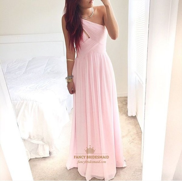 Pink One Shoulder Ruched Top Sleeveless Chiffon Long Bridesmaid Dress