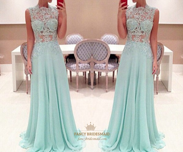 Baby Blue Sheer Lace Applique High Neck A Line Long Chiffon Prom Dress