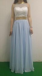 Baby Blue Halter Sheer Neck Open Back Long Prom Dress With Sash Belt