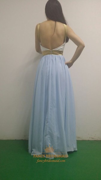 Baby Blue Halter Sheer Neck Open Back Long Prom Dress With Sash Belt