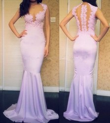 Lilac Illusion Sheer Lace Applique Open Back Mermaid Formal Dress