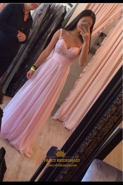 Pink Sweetheart Lace Bodice Floor Length Bridesmaid Dress With Straps