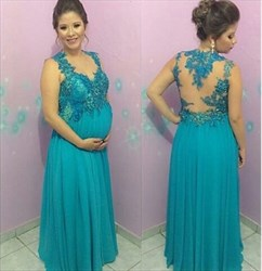Turquoise Sheer Lace Applique Open Back Long Chiffon Formal Dress
