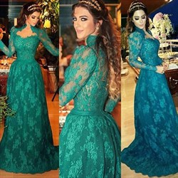 Teal High Neck Long Sleeve Lace Appliqué Full Length Formal Dress