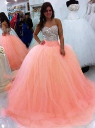 Peach Strapless Beaded Embellished Bodice Ball Gown Wedding Dress