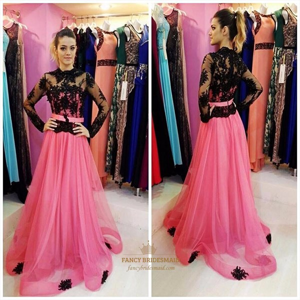 Pink High Neck Sheer Lace Applique Long Sleeve Formal Dress