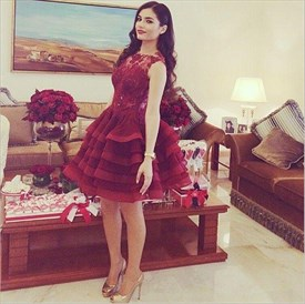 Burgundy Sheer Lace Applique Knee Length Tulle Bridesmaid Dress