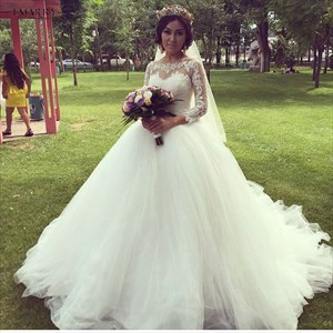 White Sheer Lace Embellished Ball Gown Wedding Dress With Long Sleeves