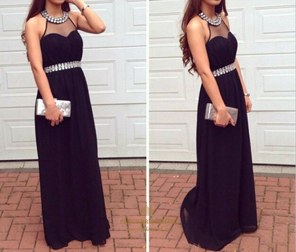 Black Beaded Sheer Halter Neck Sleeveless Long Chiffon Evening Dress