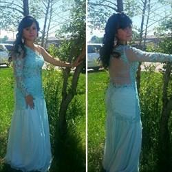 Mint Green One Shoulder Long Sleeve Sheer Applique Prom Dress