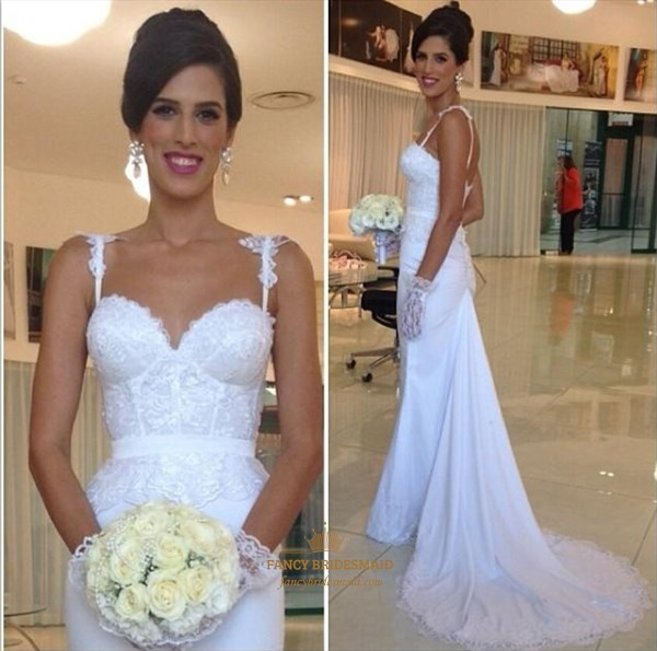 White Spaghetti Strap Lace Bodice Wedding Dress With Long Train