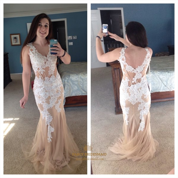 Peach V Neck Open Back Lace Applique Long Mermaid Prom Gown