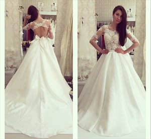 Ivory Sheer Sleeve Open Back Ball Gown Wedding Dress With Bow