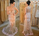 Peach Lace Applique Sheer Back Long Sheath Prom Dress With Overlay