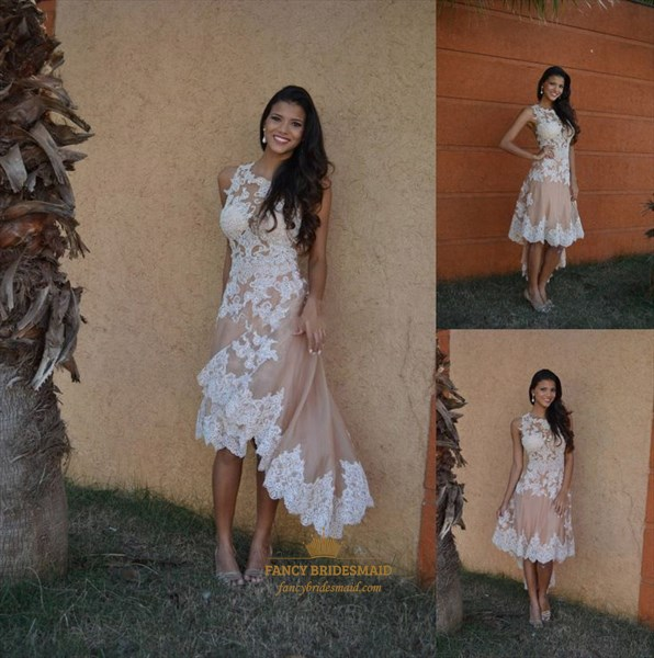 Peach Sheer Lace Applique High Low Short Homecoming Dress