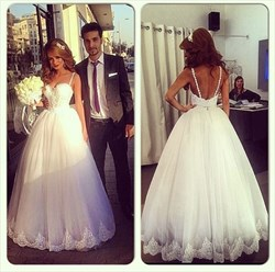 White Spaghetti Strap Sweetheart Lace Top Ball Gown Wedding Dress