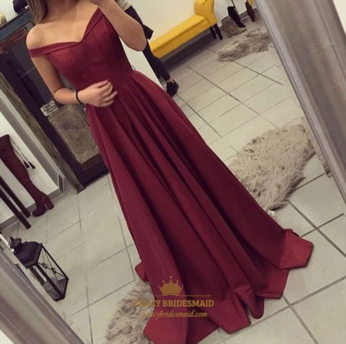 Burgundy Off The Shoulder A Line Floor Length Chiffon Prom Dress