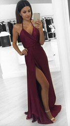 Burgundy Halter V-Neck Open Back Side Cut-Out Long Prom Dress