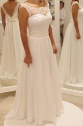 White Embellished Backless Beaded A Line Chiffon Long Wedding Dress