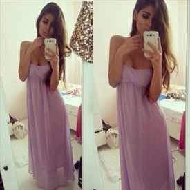 Lilac Strapless Sweetheart Ruched Empire Waist Long Bridesmaid Dress