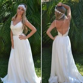 Ivory Spaghetti Strap V Neck Open Back Chiffon Wedding Dress
