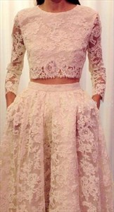 Two Piece Long Sleeve Lace Full Length Formal Dress
