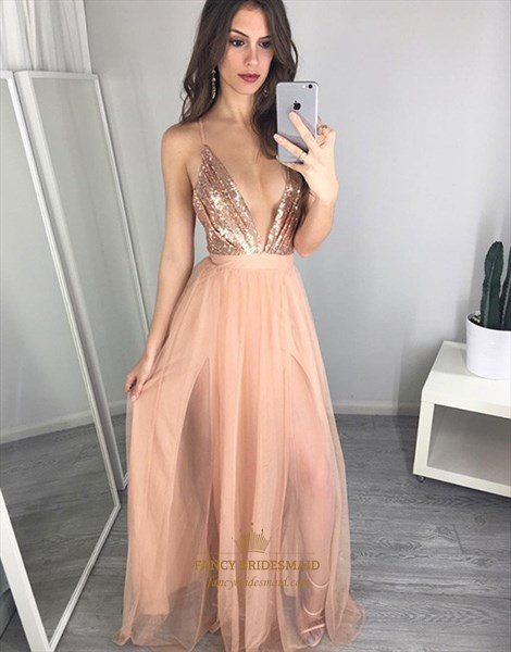 Peach Deep V Neck Spaghetti Strap Backless Sequin Bodice Prom Dress