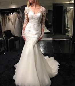 White V Neck Sheer Lace Long Sleeve Mermaid Wedding Dress With Train
