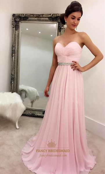 Pink Strapless Sweetheart Criss Cross Ruched Beaded Bridesmaid Dress