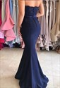 Navy Blue Strapless Lace Embellished Mermaid Long Bridesmaid Dress